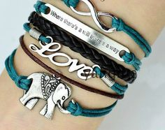 The elephant leather cord bracelet