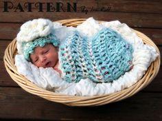 Free Fleece Cloud Baby Cocoon and Beanie Crochet PDF Pattern by Ira Rott