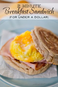 2 Minute Breakfast Sandwich for Under a Dollar - Scramble the egg in a mug in the microwave!