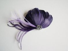 Eggplant Purple Feather Fascinator - Eggplant Bridal Headpiece - Eggplant Feather Hairclip - Eggplant Bridal Fascinator