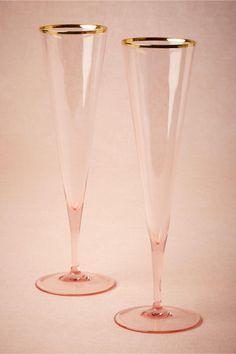 Gold-Rimmed Rose Champagne Flutes