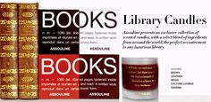 Library Scented Candles! Quick! Alert all the book nerds! Made to smell like leather bindings, worn wood, and book pages!