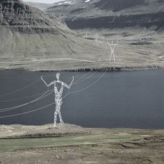 American firm Choi + Shine Architects designed these conceptual electricity pylons shaped like human figures to march across the Icelandic landscape.