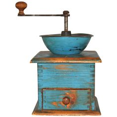 19thC Original Blue Painted Coffee Grinder | From a unique collection of antique and modern primitives at https://www.1stdibs.com/furniture/folk-art/primitives/