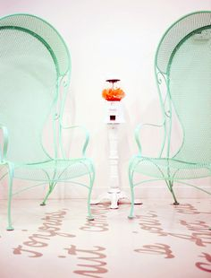 Mint french lounge chairs