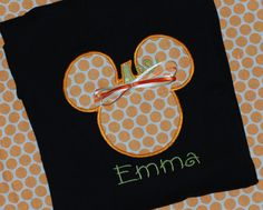 Girls or boys disney mickey minnie mouse personalized pumpkin fall halloween shirt on Etsy, $21.00