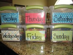 Quiet time boxes- one for each day of the week!  SMART.  Perfect for when cooking dinner.