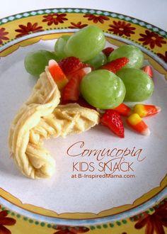 A Kids Thanksgiving breakfast idea: Cornucopia Snack with Eggo Waffles at B-Inspired Mama