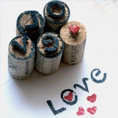 DIY Handcarved Wine Cork Stamps! Perfect for #Valentine's Day and #gogreenweek
