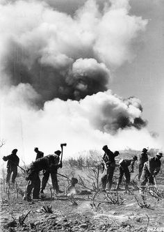 CCC enrollees help to control the Malibu fire near Angeles National Forest, California by OSU Special Collections & Archives, via Flickr