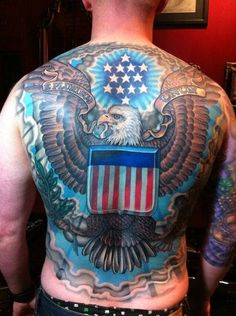 That is one hell of a back piece. #InkedMagazine #UnitedStates #America #eagle #back #tattoo #tattoos #Inked #Ink