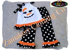 Girly Snowman Christmas Outfit Set Girl Custom Boutique Clothing Christmas Ruffle Pant 3 6 9 12 18 24 month size 2T 2 3T 3 4T 4 5T 5 6 7 8 via Etsy