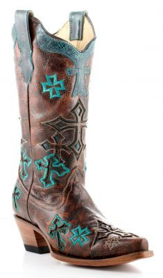 Womens Corral 3 Cross Boots Whiskey And Turquoise #R1019   http://www.drysdales.com/Womens/Boots/Western/detail-23492-Corral-Ladies-Brown--Turquoise-Three-Cross-Cowgirl-Boots.html#nogo $199.99