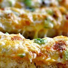 cheese bread, party snacks, pizza, bread recipes, cheesi bread, cheesy garlic bread, green onions, simply recipes, parti