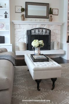 Beautiful home tour of So Much Better with Age - love the white washed fireplace eclecticallyvintage.com