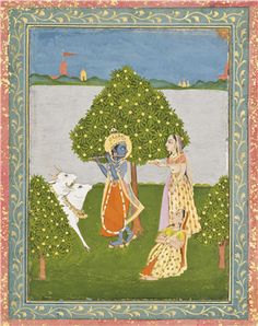 Krishna and the Gopis, Provincial Mughal, Central India 18th century