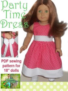Party time Dress ... by Marinda Creations   Sewing Pattern - Looking for your next project? You're going to love Party time Dress for 18'' Dolls by designer Marinda Creations. - via @Craftsy