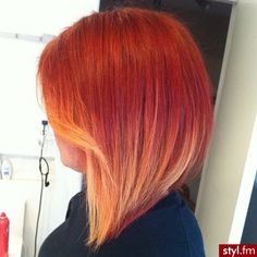 Love this short ombre hair style. Red to blonde