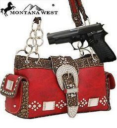 *Hot & Trendy* Red Western Buckle Conceal and Carry Purse