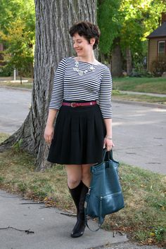 Already Pretty outfit featuring boat neck breton top, full black skirt, brooch necklace, Coclico boots, CZ stud earrings