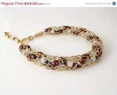 Candy cane bracelet, 14K gold-filled wire crochet, cranberry pearls and frosty crystals, by DianaShyeJewelry, $44.25