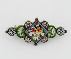 Antique Venetian Micro Mosaic Pin