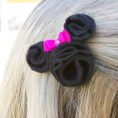Make your own Mickey and Minnie hair barrettes! These are great to make with your child.