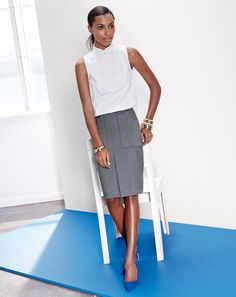 J.Crew women's pleated bib top, patch pocket skirt in stretch wool, and Elsie suede pump. To preorder call 800 261 7422 or email erica@jcrew.com.
