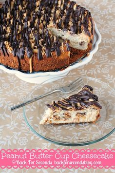 Peanut Butter Cup Cheesecake @Beverly Kaine For Seconds #reeses #peanutbuttercups #cheesecake #peanutbutter #ganache #chocolate #dessert #recipe