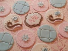 Elegant Baby/Bridal Shower Fondant Cupcake/Cookie Toppers