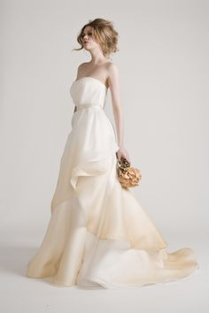 Gold ombre wedding dress