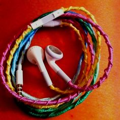 """Thread wrapped headphones.  After reading and re-reading different directions on how to make these, and double checking WHILE doing these---mine did not make the awesome """"staircase"""" with the knots. Also, my knots are already starting to come undone. I'm not an idiot and know how to tie a knot, but there you have it.   FAILED IT!!!"""
