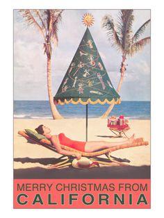 beach christmas, beaches, vintage christmas, umbrellas, christmas holidays, florida, at the beach, poster, merri christma