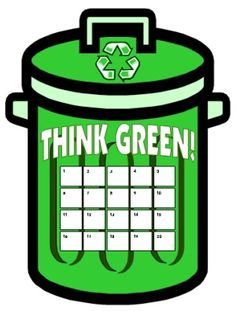 """March is a great time to get your students to """"Think Green"""" and start a recycling unit.  Students can use these """"Recycling Sticker Chart Templates"""" to record when they are doing something that is good for the environment."""