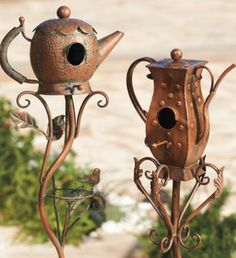 Plant one in the garden bed or prop one in a planter: whether short and stout or tall and tapered, each has a playful personality, complete with perching birds and well-detailed leaves.