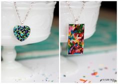 DIY jewelry is one of many great kids' craft ideas that will keep them busy for hours. This Glamorous Sprinkle Pendant definitely puts a fun new twist on jewelry making. | AllFreeKidsCrafts.com
