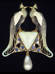 René Lalique. 1901 Pendant. Gold, enamel, opal, pearl, diamonds. LALIQUE stamped on bottom edge