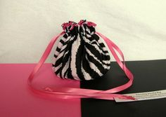 """Yes, we can still get you jewelry bags by Christmas!  This bag $8.99 @IslandJewelryBags.com """"Pink Zebra"""" #Jewelry Bag"""