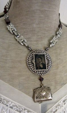 miss judy's purse - vintage assemblage necklace with rhinestones, tintype and rosaries by the french circus.