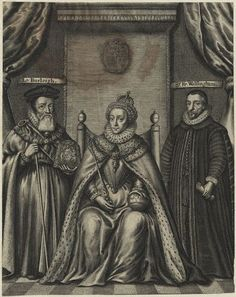 A 17th century engraving of Queen Elizabeth I and her two able advisors, William Cecil, Lord Burghley and Sir Francis Walsingham.