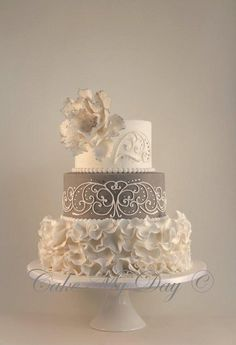 """Elegance"" ~ Wedding Cake ~ Ruffles, crystals, piping and color ""tipped"" Sugar Rose weddings, ruffle cake, cake recip, wedding cakes, grey, white cakes, flowers, elegant wedding, ruffles"