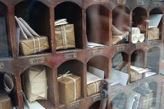 gift, vintage, letter, brown paper packages, papers, harry potter, cubbi, mail boxes, snail mail