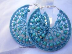 Love this beaded crochet earrings design!