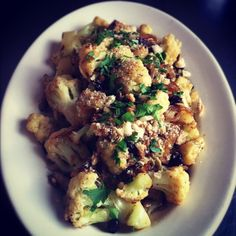 Cauliflower with Bourbon, Raisins and Pine Nuts