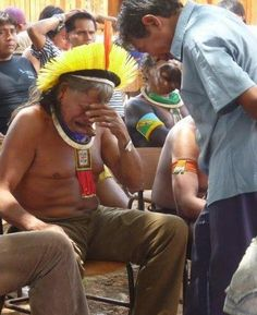 """Chief Raoni crying when he learned that the President of Brazil approved the Belo Monte dam project on the Xingu indigenous lands. Belo Monte will be bigger than the Panama Canal, flooding nearly a million acres of rainforest & indigenous lands. 40,000 indigenous and local people will be forced off their native lands (as well as millions of unknown species & plants) In the name of ""progress"""""
