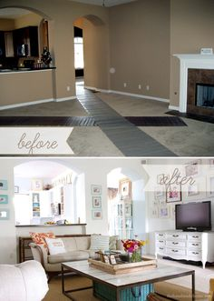living before and after; bright whites and happy colors