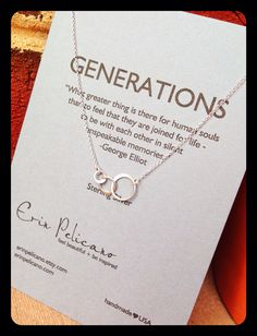 Generations Necklace. Family. Sisters. Mother. Grandmother.  Inspirational gift
