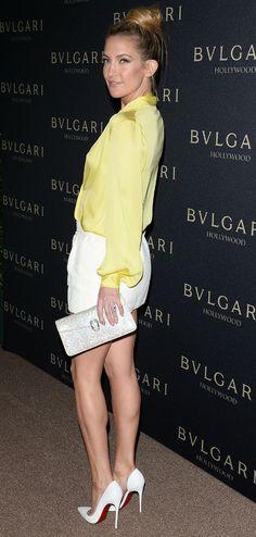 Kate Hudson - we want your  BVLGARI clutch. #HandbagSpy www.handbag.com