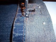 Easy way to hem blue jeans, pants or shorts.