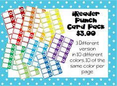 iReader Punch Card pack $3.00 on TpT